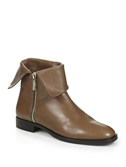 Pollini - Fold-Over Leather Ankle Boots