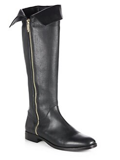 Pollini - Fold-Over Leather Knee-High Boots