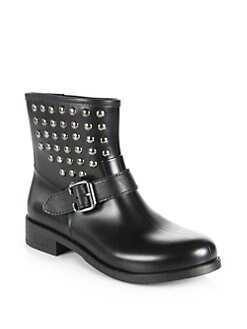 Pollini - Studded Rubber Rain Boots