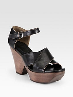 Marni - Leather Crisscross Wooden Platform Sandals