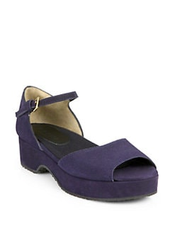 Marni - Suede Double-Strap Wedge Sandals