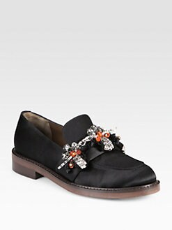 Marni - Jeweled Satin Moccasin Loafers