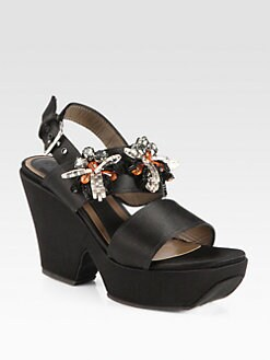 Marni - Raso Jeweled Satin Wedge Sandals