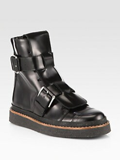 Marni - Leather Double-Buckle Military Boots