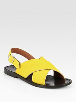 Marni - Calf Hair Crisscross Sandals