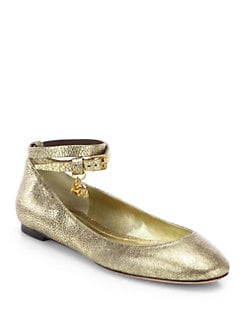 Alexander McQueen - Double Wrap Leather Ballerina Flats