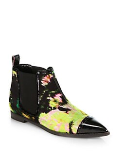 Nicholas Kirkwood - Abstract Floral-Print Silk & Patent Lether Chelsea Boots