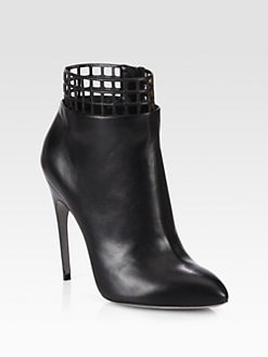 Sergio Rossi - Perforated Leather Ankle Boots