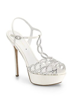 Sergio Rossi - Bridal Crystal-Coated Satin T-Strap Sandals