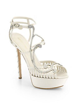 Sergio Rossi - Bridal Crystal-Coated Satin Sandals
