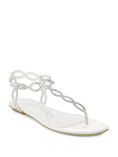 Bridal Crystal-Coated Suede Thong Sandals