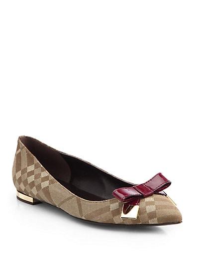 Syon Check Canvas  Patent Leather Ballet Flats