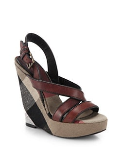 Burberry - Warlow Leather & Check Wedge Sandals