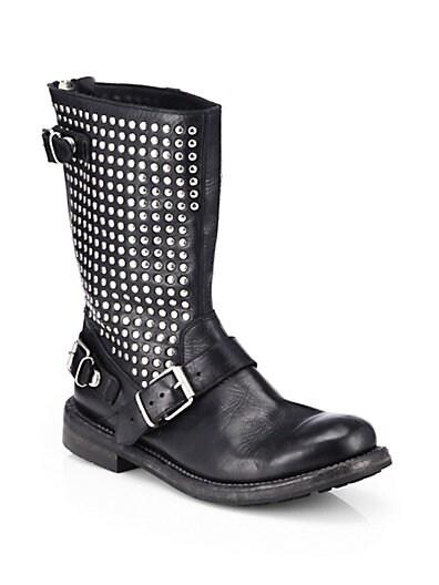 Athol Studded Leather Moto Boots