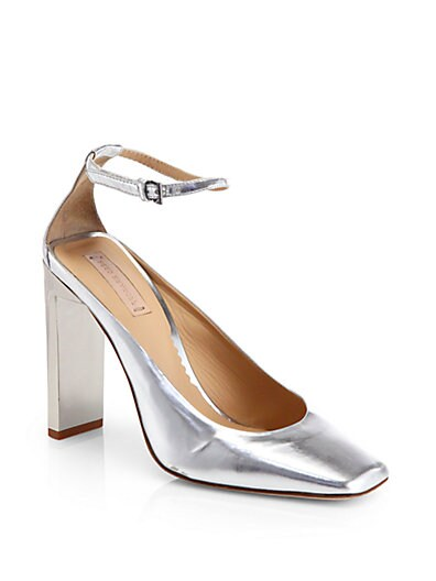 Atlas Metallic Leather Ankle-Strap Pumps