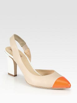 Reed Krakoff - Monolith Leather & Patent Slingback Pumps