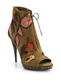 Burberry Prorsum  Hand-Painted Suede Ankle Boots