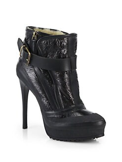 Burberry Glasbury Leather Platform Ankle Boots