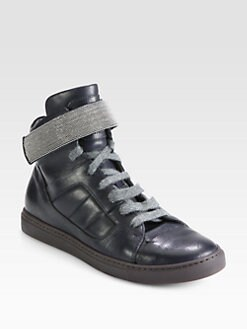 Brunello Cucinelli - Beaded Leather High-Top Sneakers