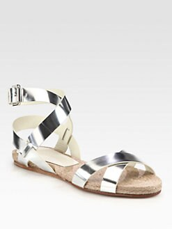 Ralph Lauren Collection - Maira Metallic Leather Sandals