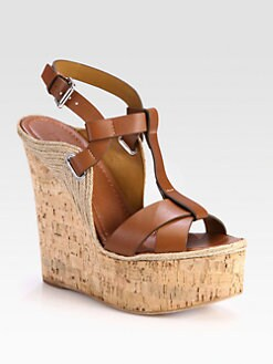 Ralph Lauren Collection - Fimesa Leather Cork Wedge Sandals