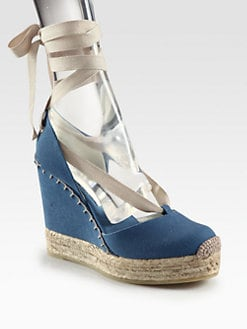 Ralph Lauren Collection - Gayle CanvasTie-Up  Wedge Espadrilles