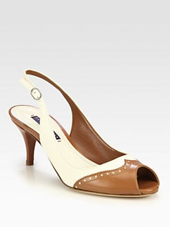 Ralph Lauren Collection - Halden Leather Slingback Pumps