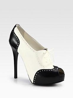 Ralph Lauren Collection - Jeona Leather Lace-Up Platform Pumps