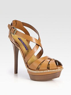 Ralph Lauren Collection - Jodene Leather Platform Sandals