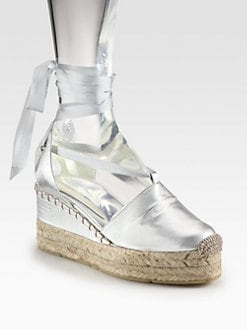 Ralph Lauren Collection - Uma Metallic Leather Tie-Up Espadrille Wedges