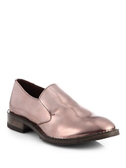 Brunello Cucinelli - Metallic Leather Loafers