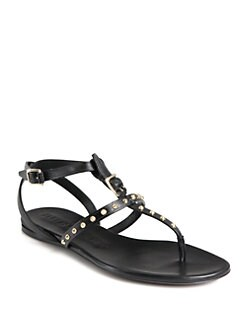 Burberry - Masefield Studded Leather T-Strap Sandals