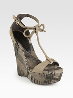Burberry - Lingards Amber Suede T-Strap Wedge Sandals