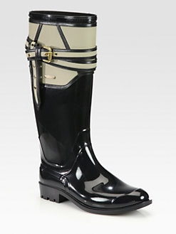 Burberry - Willesden Leather-Trimmed Rain Boots