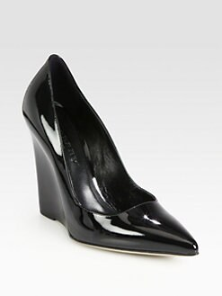 Burberry - Wickham Patent Leather Wedge Pumps