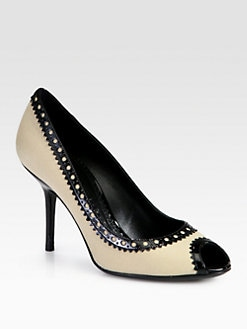 Burberry - Brogue Stockton Canvas & Patent Leather Pumps