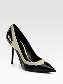 Burberry - Brogue Alkerden Patent Leather & Canvas Pumps