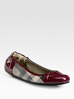 Burberry - Smoked Check Canvas & Patent Leather Ballet Flats
