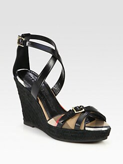 Burberry - Walden Leather & Canvas Espadrille Wedges
