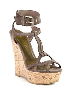 Burberry - Stour Suede Cork Wedge Sandals