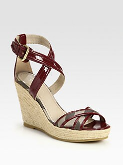 Burberry - Walmer Canvas & Patent Leather Espadrille Wedges