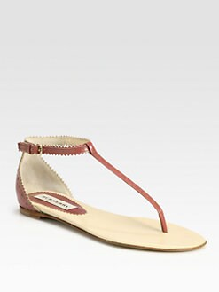 Burberry - Guilles Fortune Leather Thong Sandals
