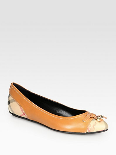 Burberry Yates Logo-Print Leather Ballet Flats