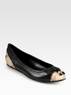 Burberry - Yates Leather Logo-Print Ballet Flats