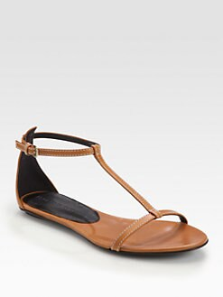 Burberry - Haymarket Lansfield Leather T-Strap Sandals