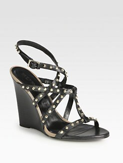 Burberry - Housecheck Studded Leather Wedge Sandals