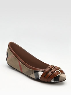 Burberry - Canvas & Leather Ballet Flats