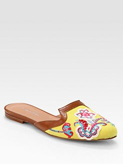 Oscar de la Renta - Spanish Embroidered Canvas & Leather Mule Slippers