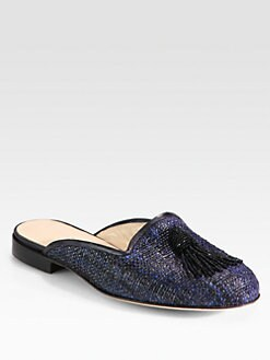 Oscar de la Renta - Cici Glitter Raffia Tassel Slippers