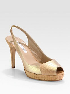 Oscar de la Renta - Susy Lam&#233; Snakeskin Cork Platform Pumps